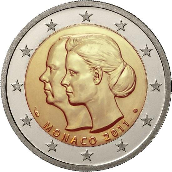 Монако 2 евро 2011 г.  Свадьба князя Монако