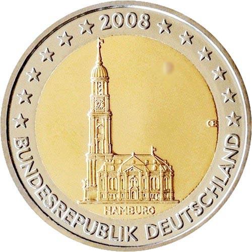 Германия 2 евро 2008 г. Гамбург