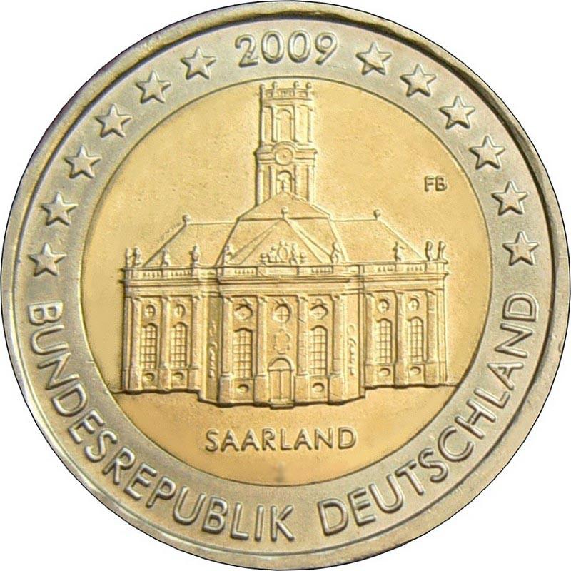 Германия 2 евро 2009 г.  Саар
