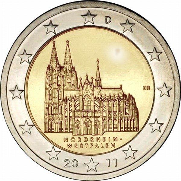 Германия 2 евро 2011 г. Северный Рейн-Вестфалия
