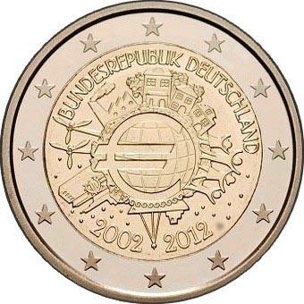 Германия 2 евро 2012 г. 10 лет наличному евро