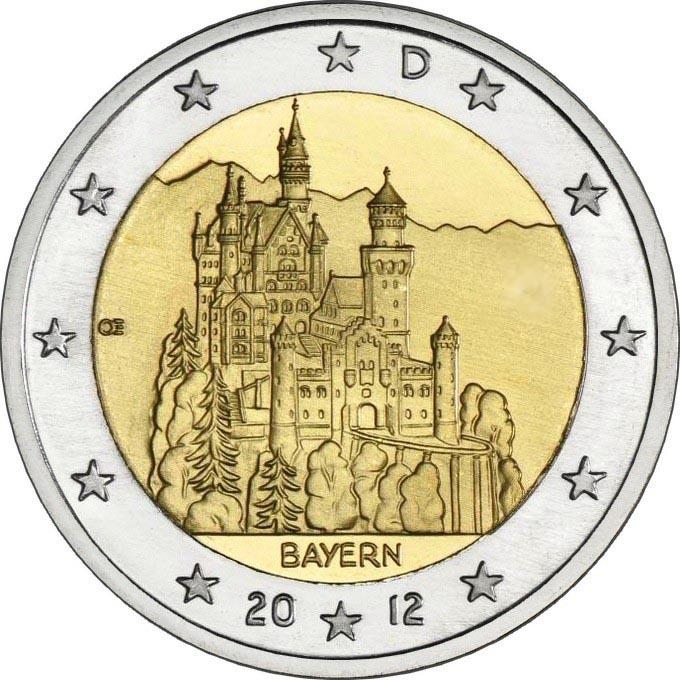 Германия 2 евро 2012 г. Бавария