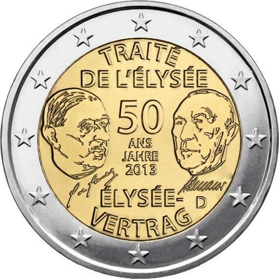 Германия 2 евро 2013 г. Елисейский договор