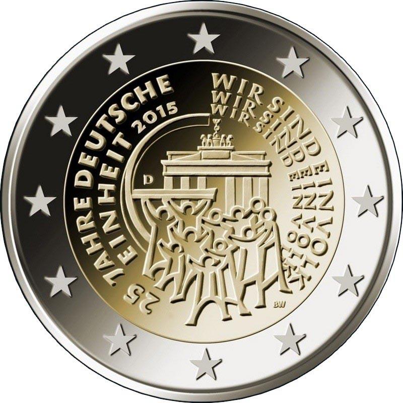 Германия 2 евро 2015 г. 25-летие объединения Германии