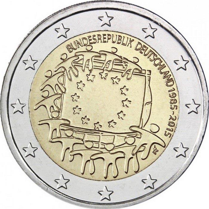 Германия 2 евро 2015 г. 30 лет флагу Евросоюза  (D)