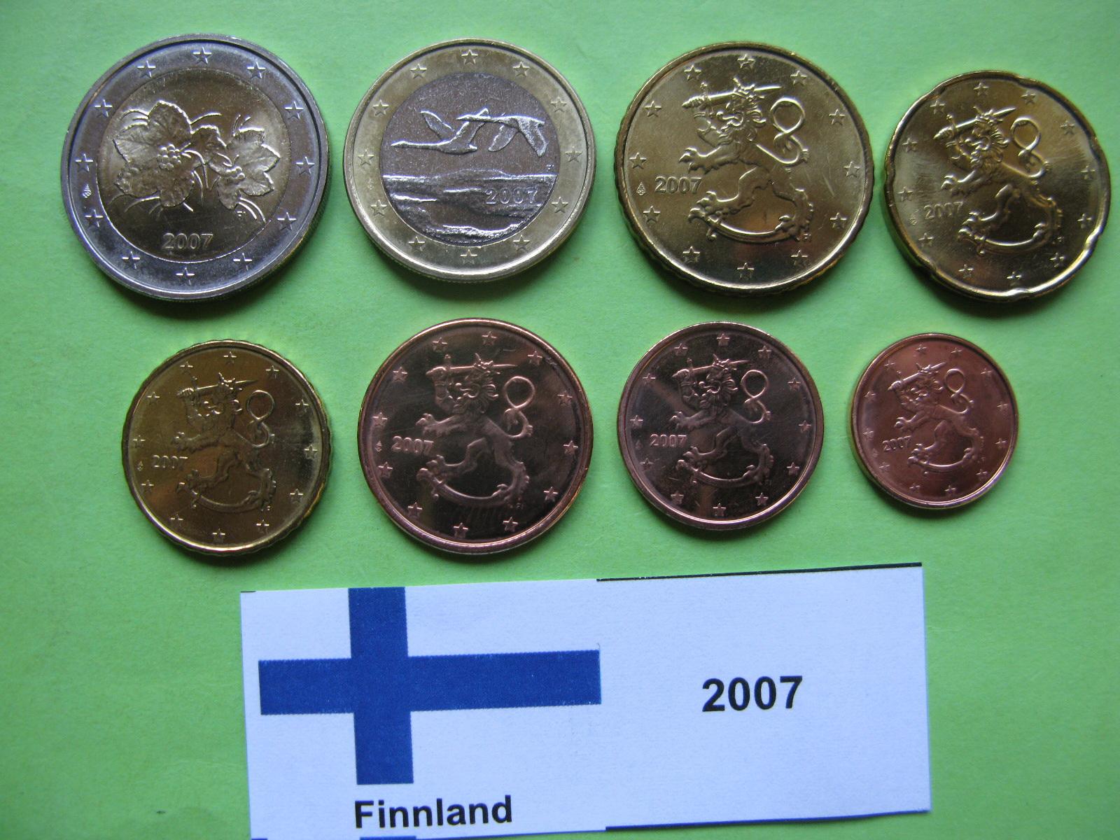 Финляндия набор евро 2007 г. UNC