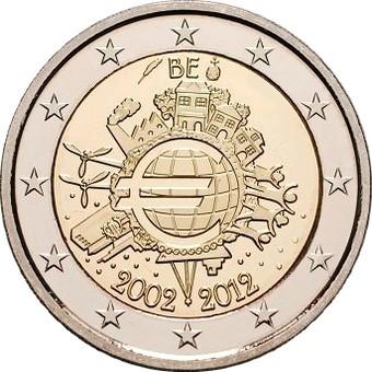 Бельгия 2 евро 2012 г. 10 лет наличному евро