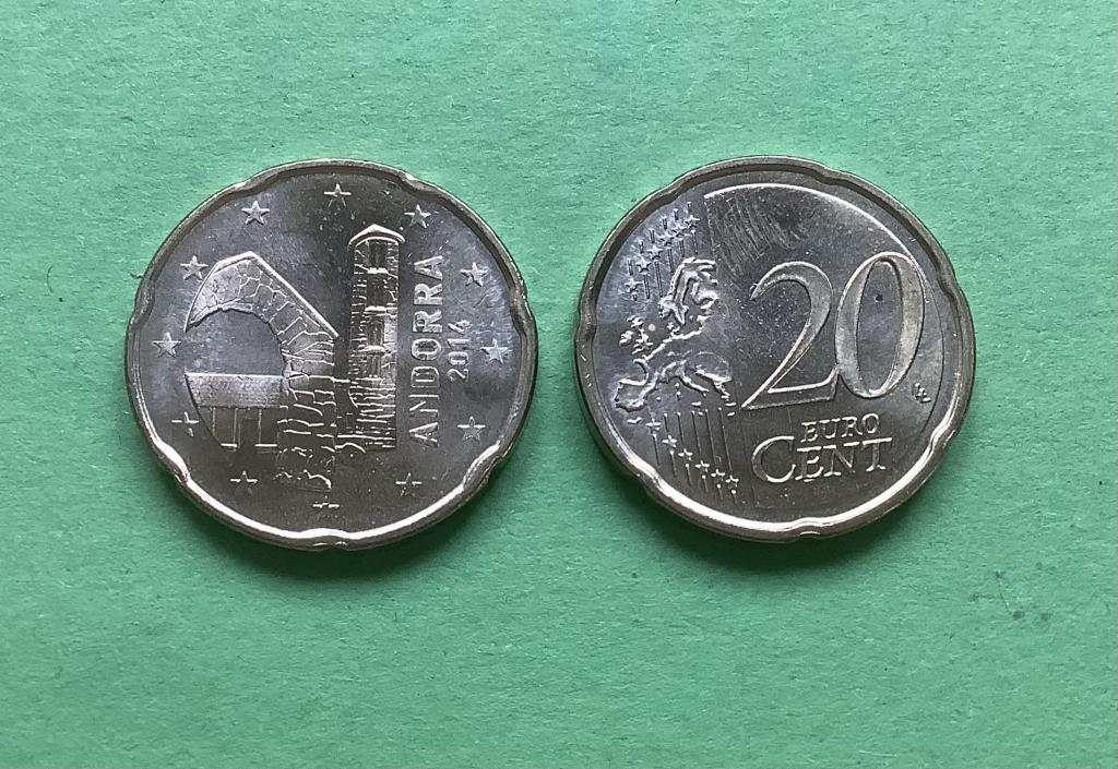 Андорра 20 евро центов  2014 г.