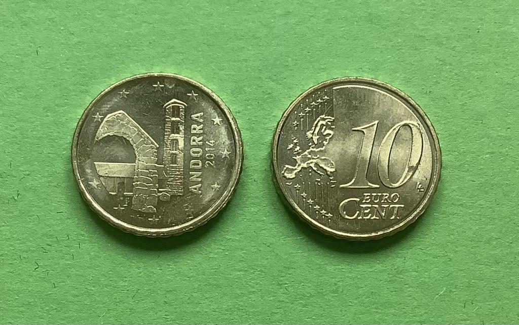 Андорра 10 евро центов  2014 г.
