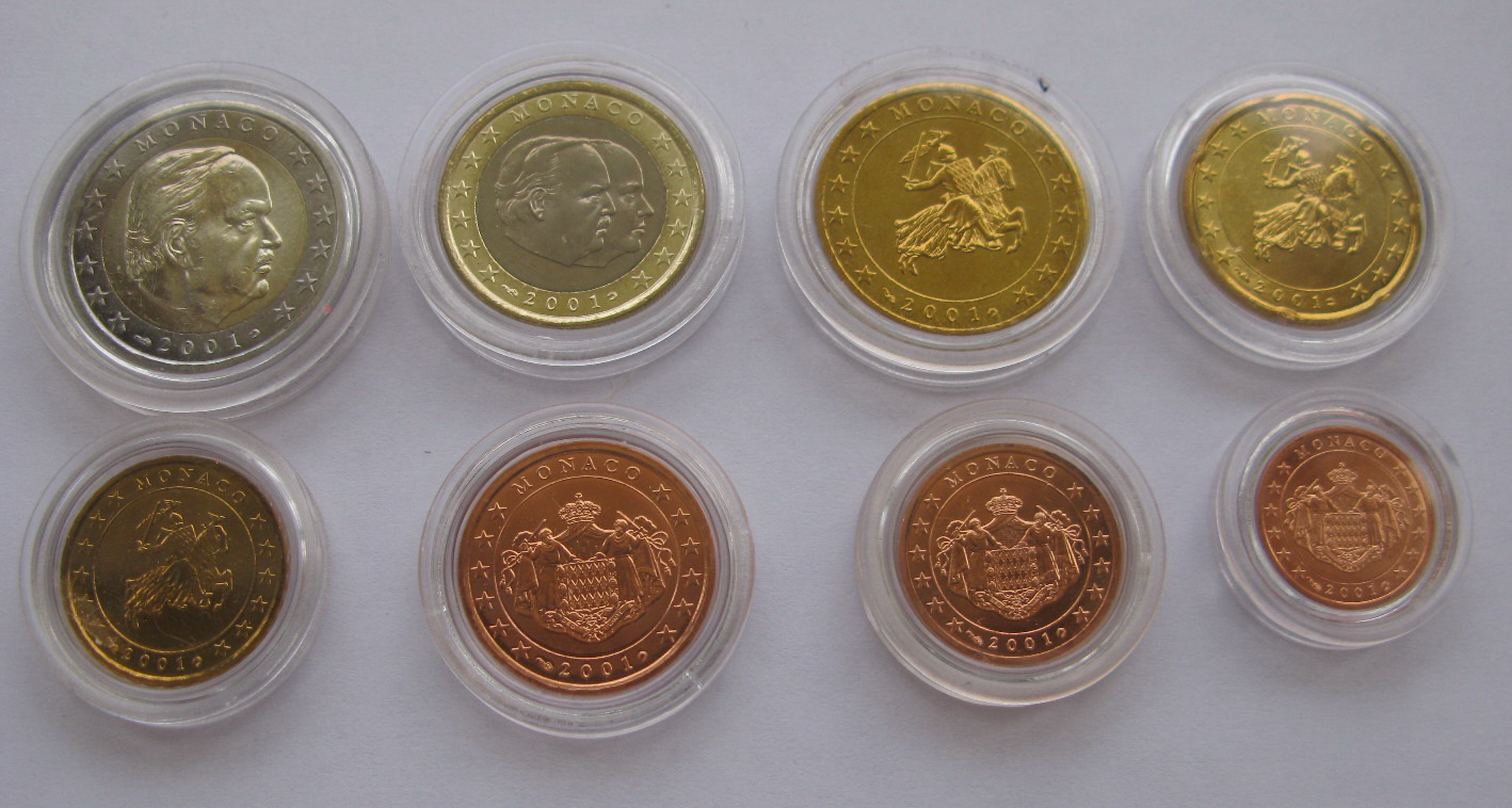 Монако набор евро монет 2001 г. UNC