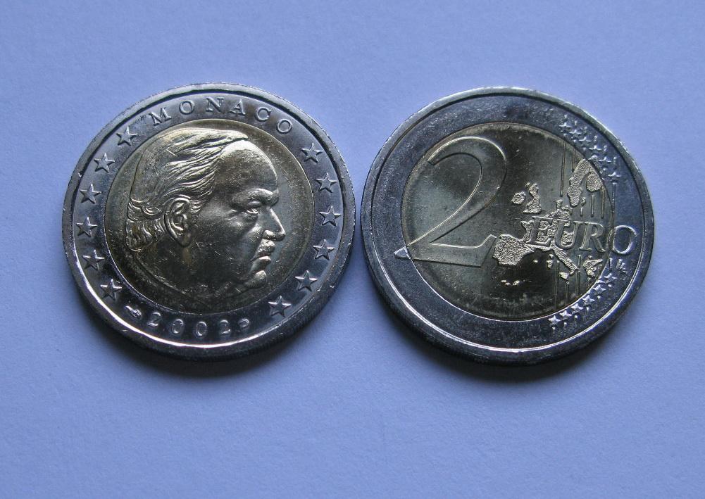 Монако 2 евро 2002 г. UNC