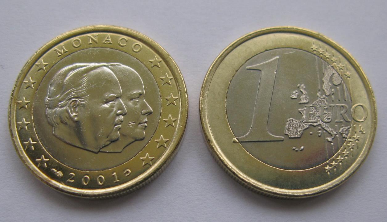 Монако 1 евро 2001 г. UNC