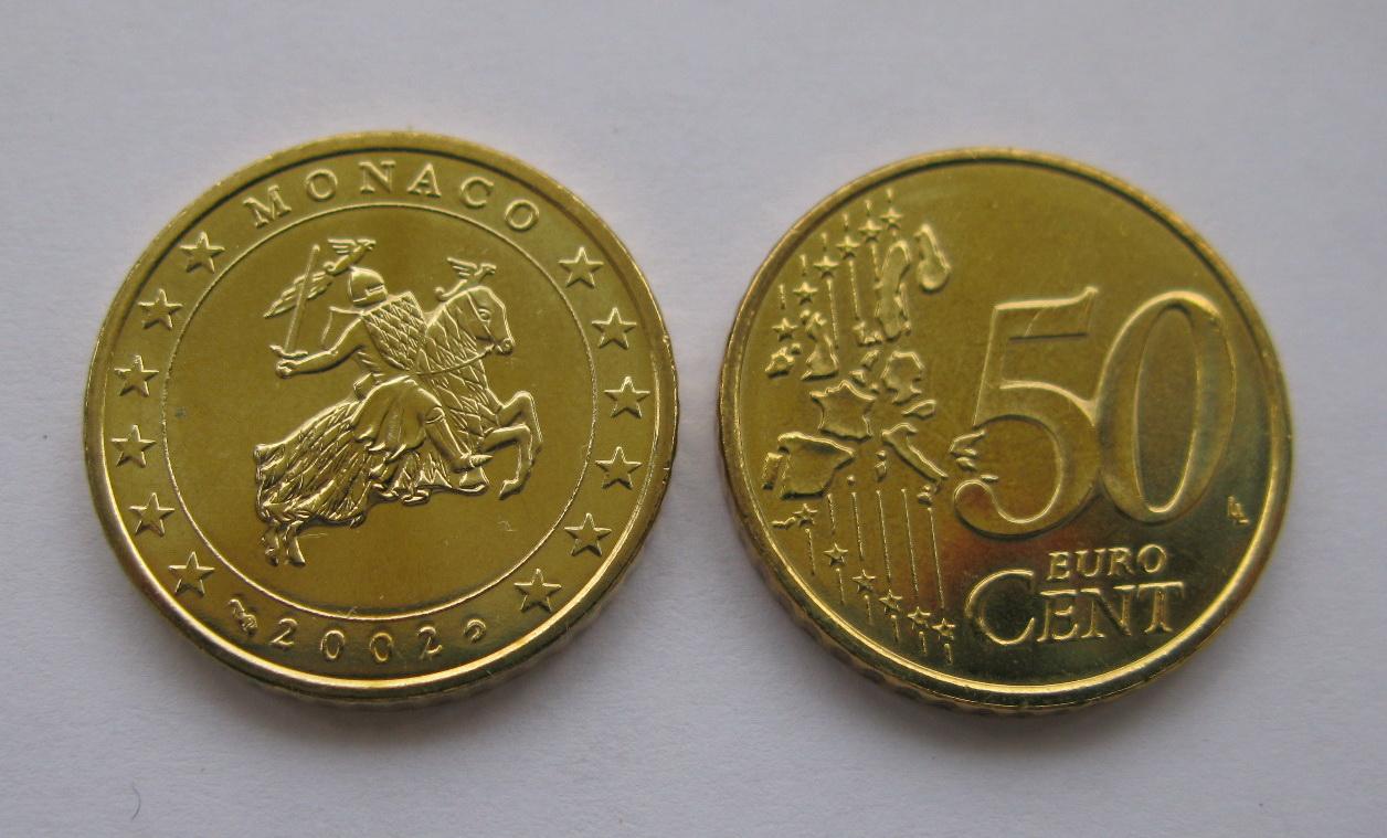 Монако 50 евро центов 2002 г. UNC