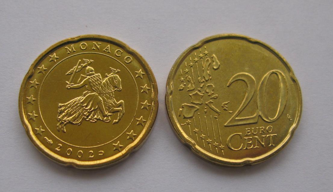 Монако 20 евро центов 2002 г. UNC