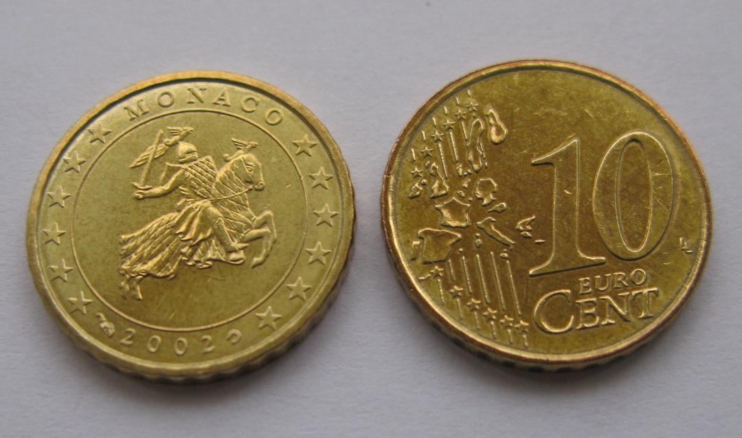 Монако 10 евро центов 2002 г. UNC