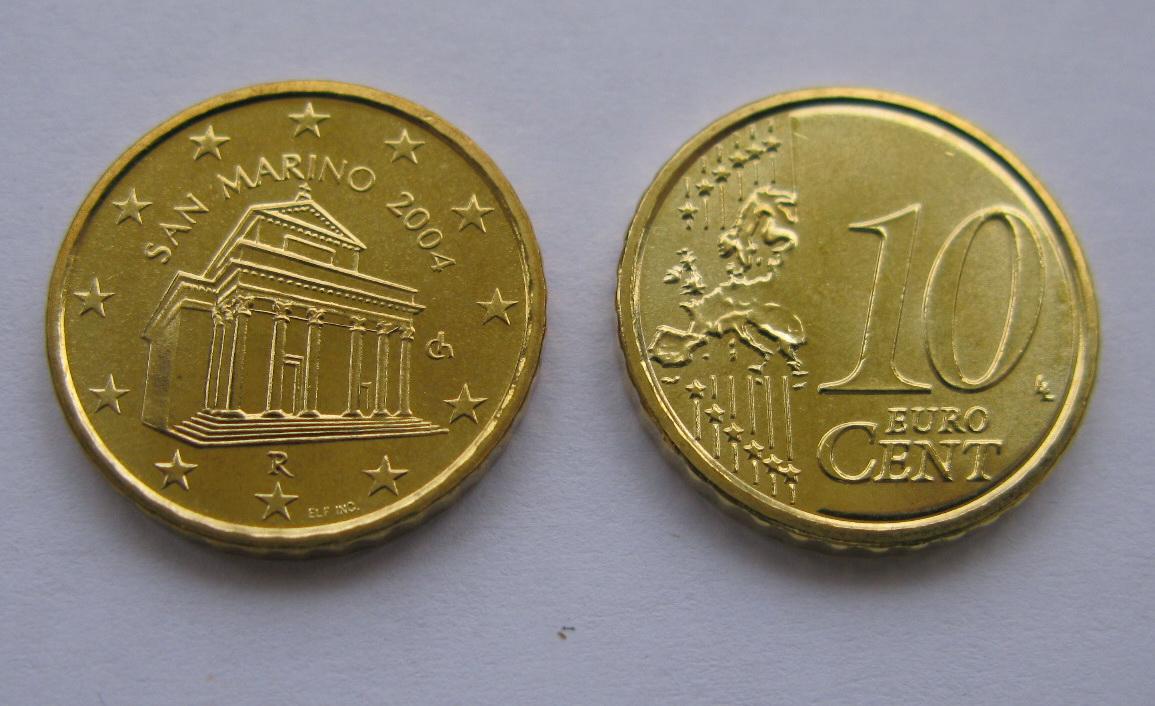 Сан Марино 10 евро центов 2004 г. UNC