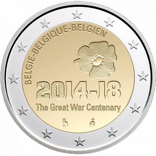 Бельгия 2 евро 2014 г. 100 лет с начала Первой мировой войны