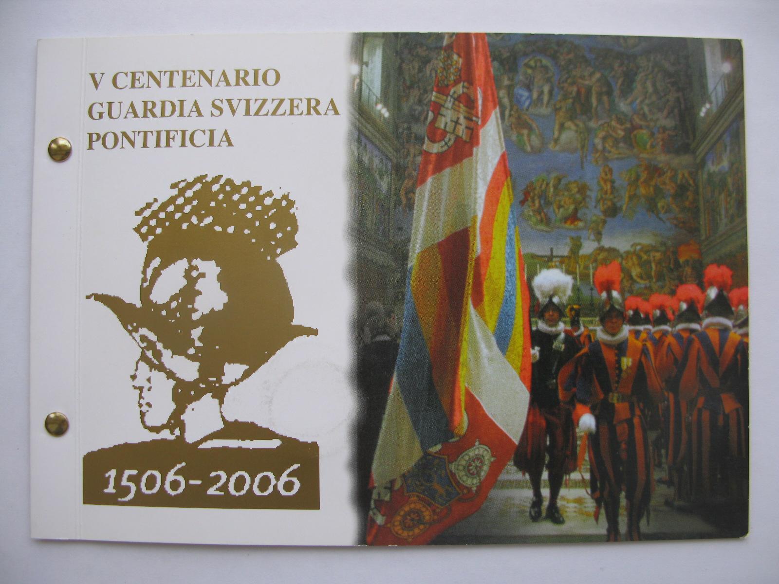 Ватикан 2 евро 2006 г.  500 лет швейцарской гвардии (конверт)