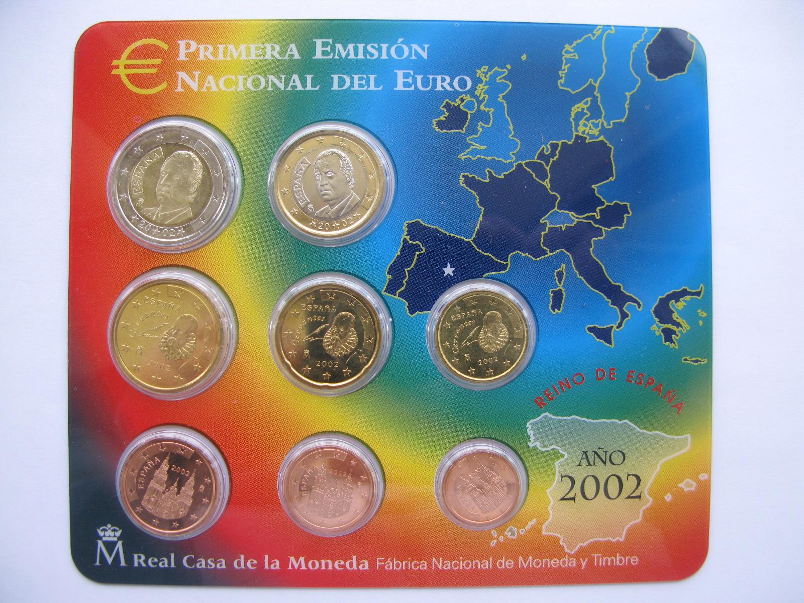 Испания официальный набор евро 2002 г.