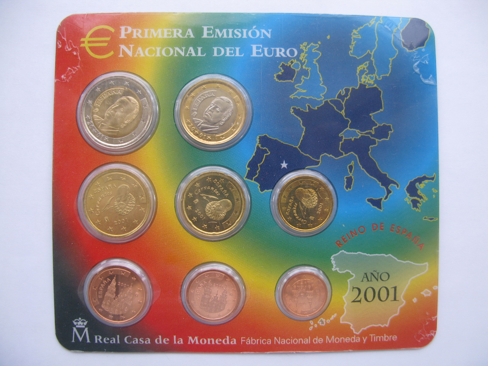 Испания официальный набор евро 2001 г.
