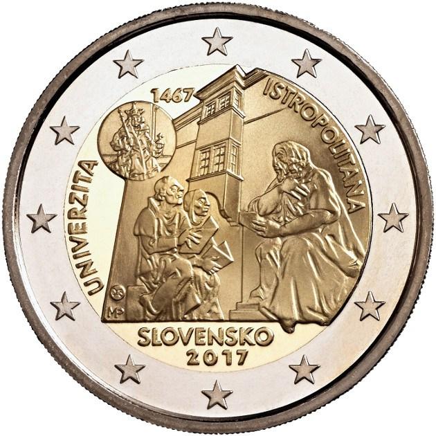 Словакия 2 евро 2017 г.  Истрополитанский Университет