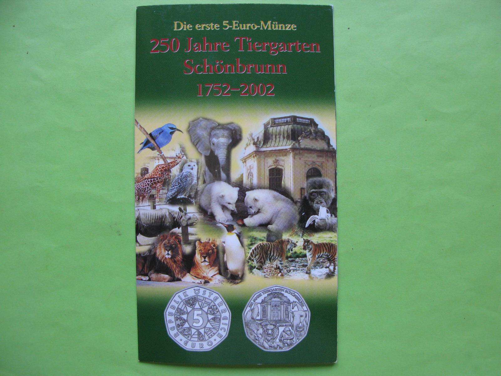 Австрия 5 евро 2002 г. Зоопарк Шёнбрунн