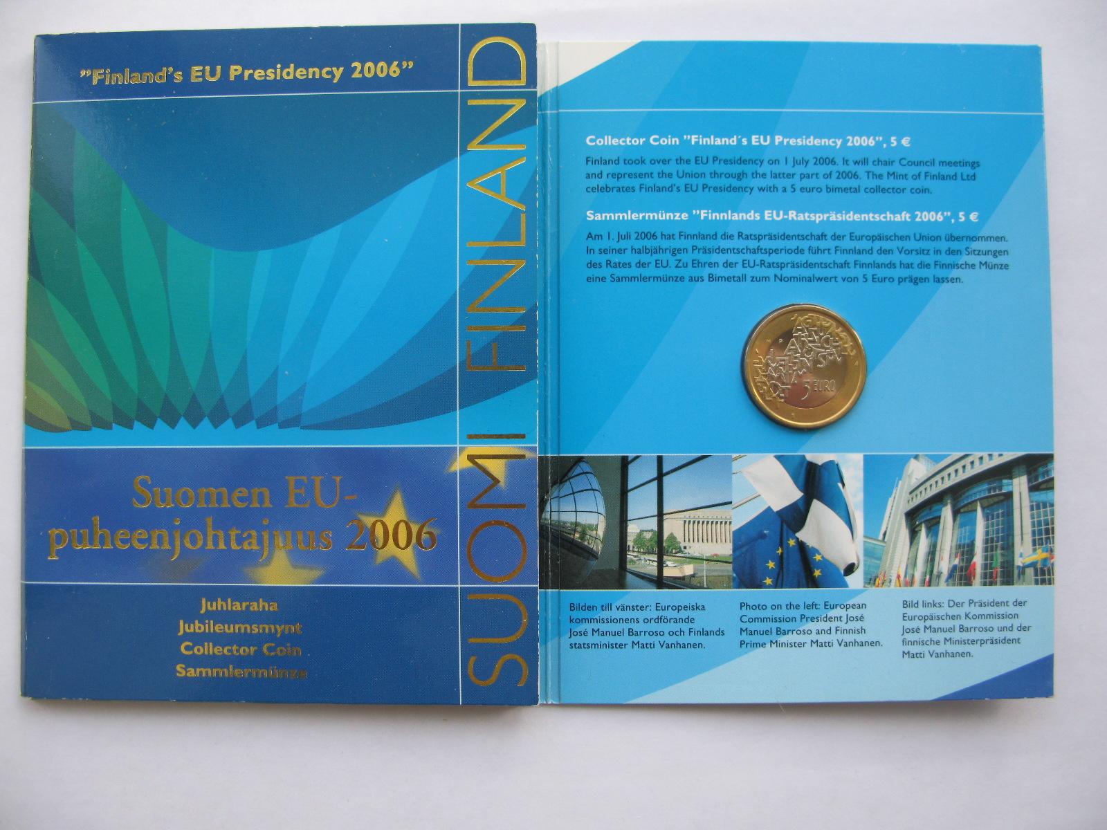 Финляндия 5 евро 2006 г. Председательство в ЕС