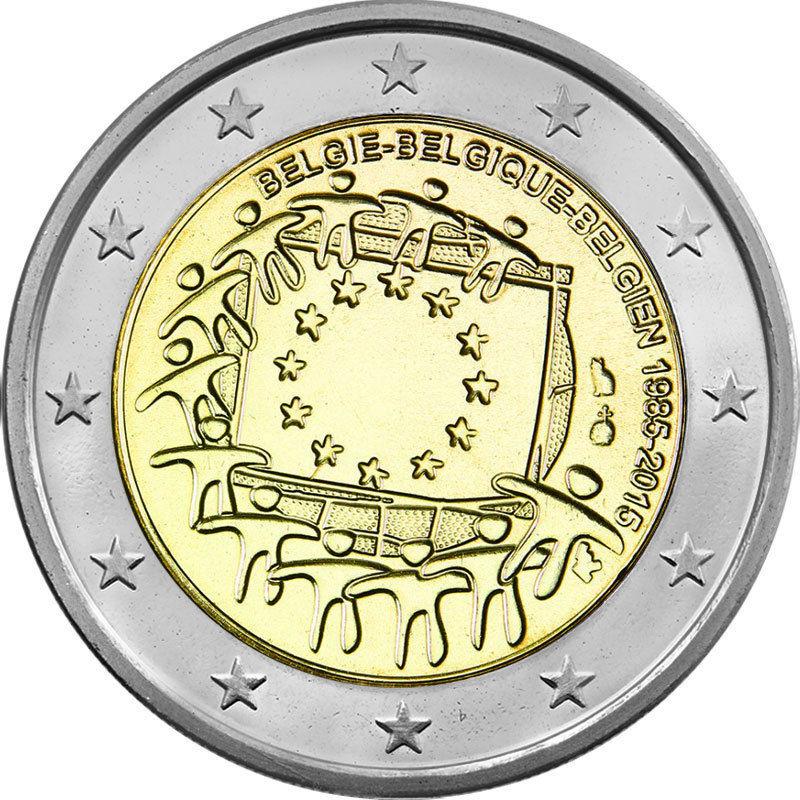 Бельгия 2 евро 2015 г. 30 лет флагу Европы