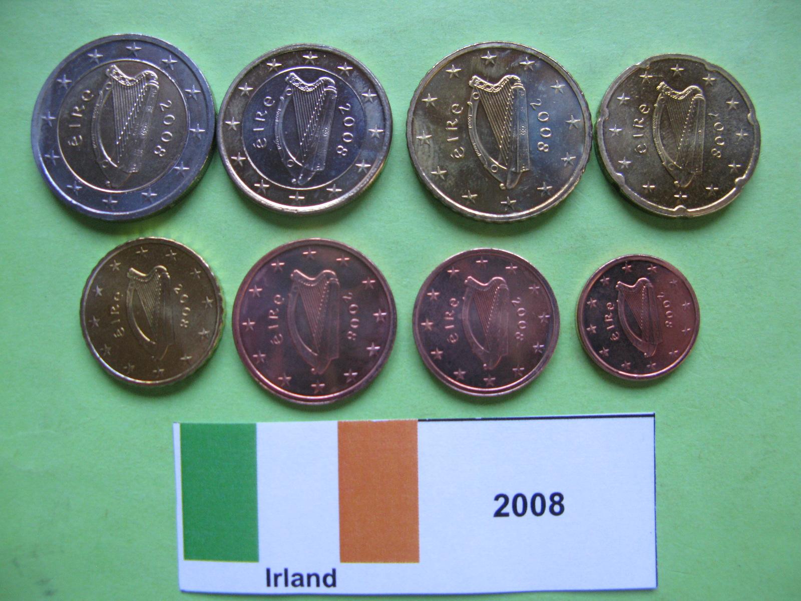 Ирландия набор евро 2008 г.  UNC