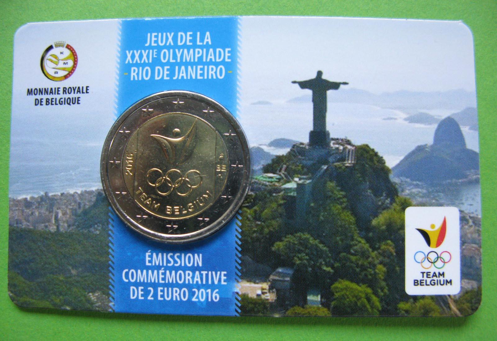 Бельгия 2 евро 2016 г.  Олимпиада в РИО