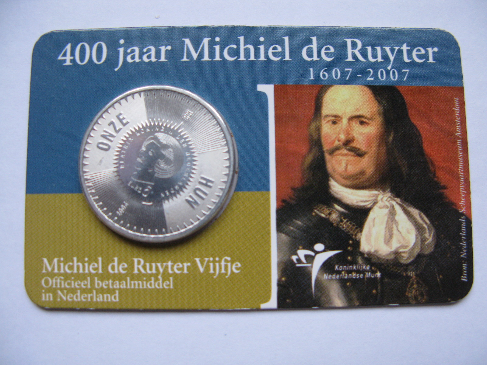 Нидерланды 5 евро 2007 г. 400 лет Михаэлю Рюйтеру