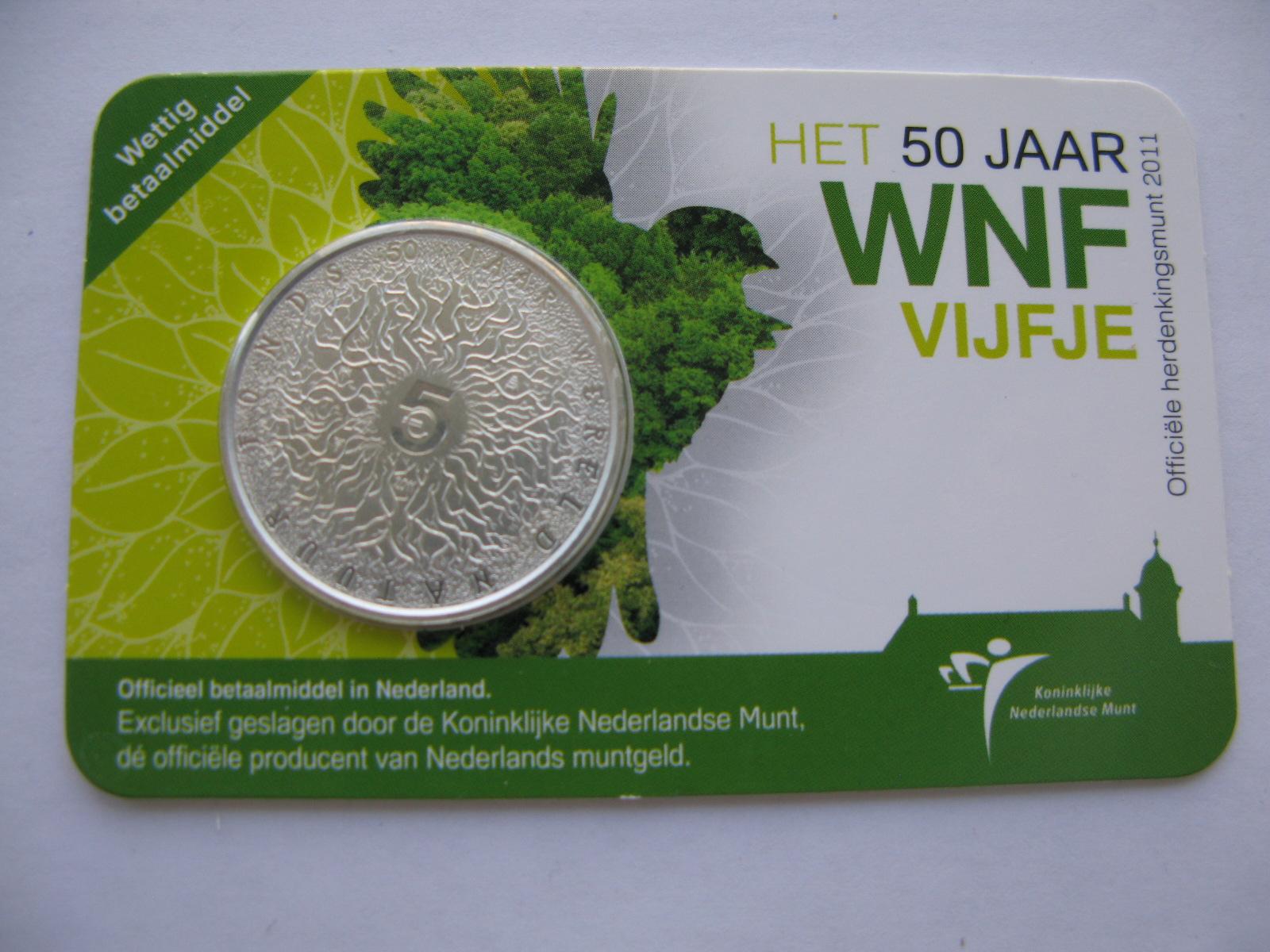Нидерланды 5 евро 2011 г. 50-летие Всемирного фонда дикой природы