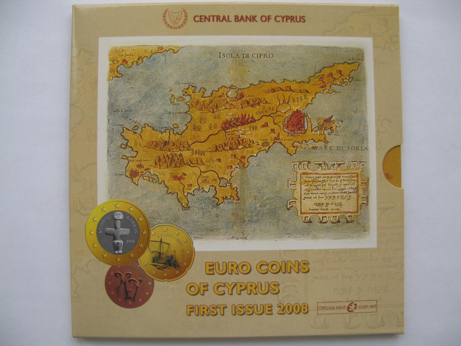 Кипр официальный набор евро 2008 г.