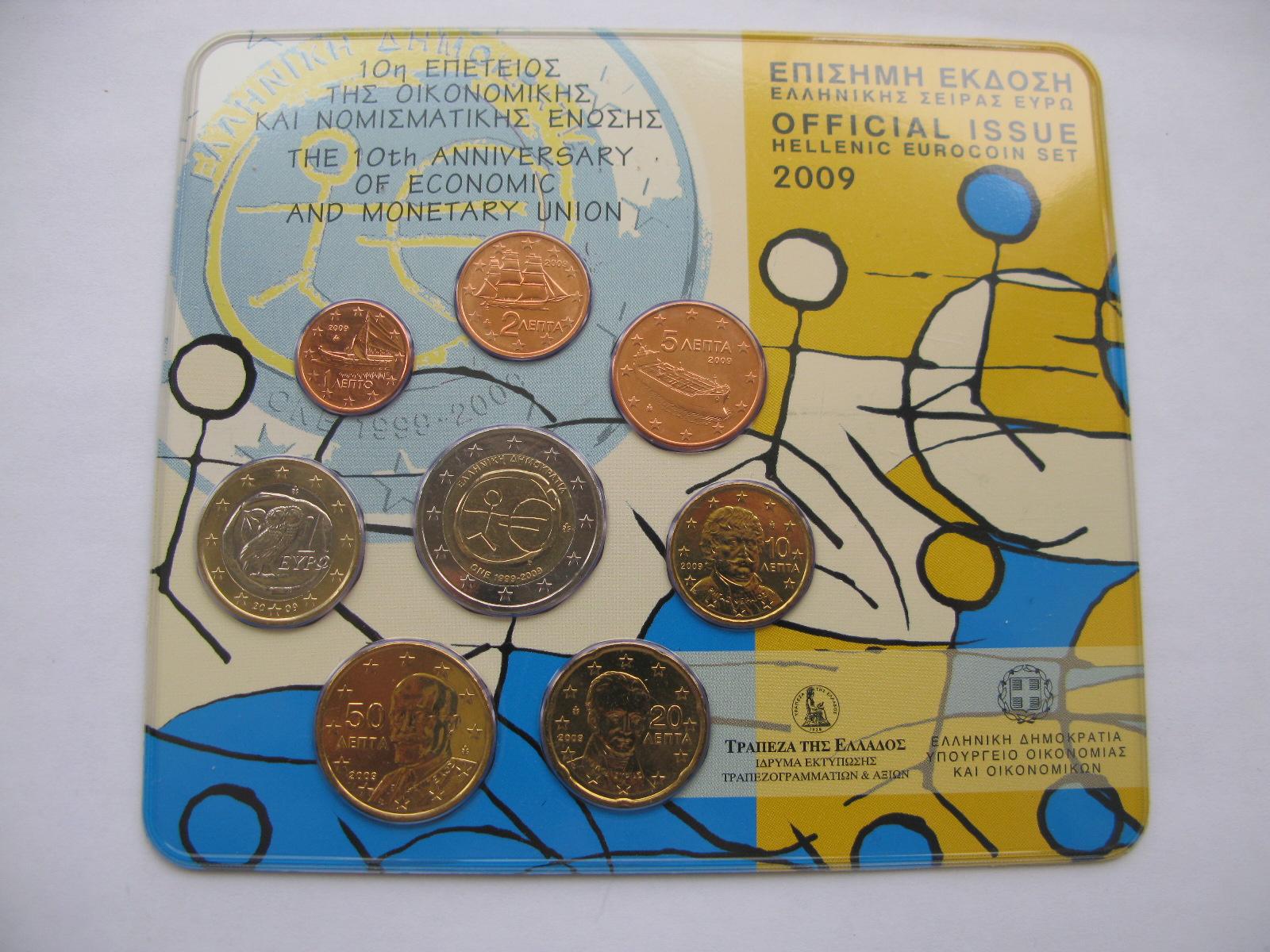 Греция официальный набор евро 2009 г.