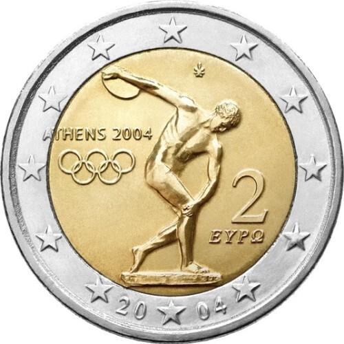 Греция 2 евро 2004 г. Олимпиада в Афинах