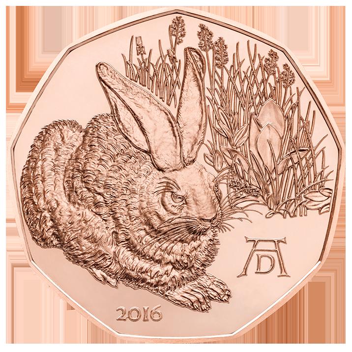 Австрия  5 евро 2016 г. Заяц Дюрера
