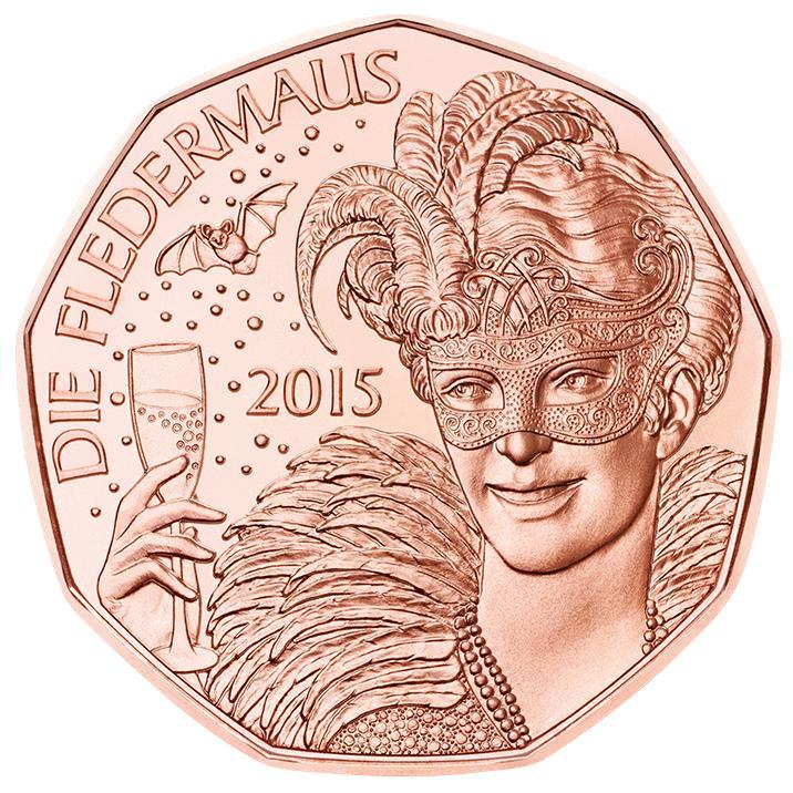 Австрия  5 евро 2015 г.  Летучая мышь