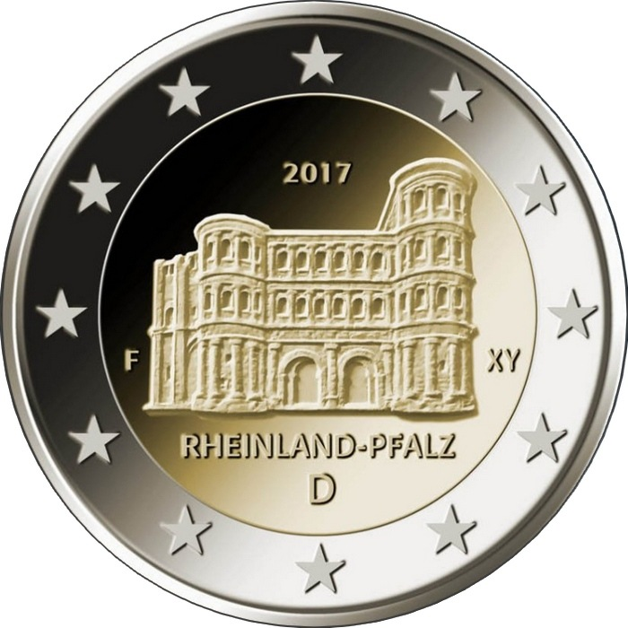 Германия 2 евро 2017 г. Рейнланд-Пфальц (Порта Нигра, г.Трир)