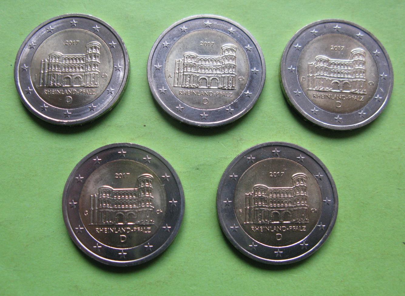 Германия 2 евро 2017 г. Рейнланд-Пфальц  (A,D,F,G,J)