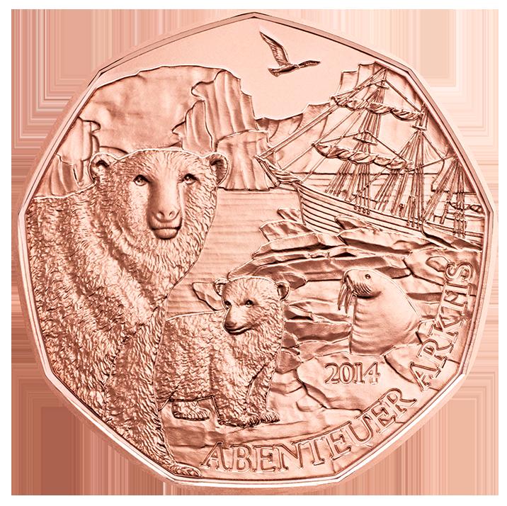 Австрия  5 евро 2014 г. Путешествие в Арктику