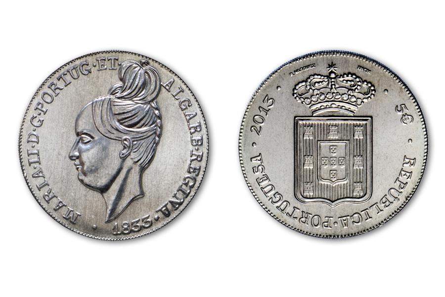 Португалия 5 евро 2013 г.  Королева Мария II