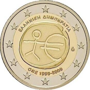 Греция 2 евро 2009 г.   10 лет экономическому союзу