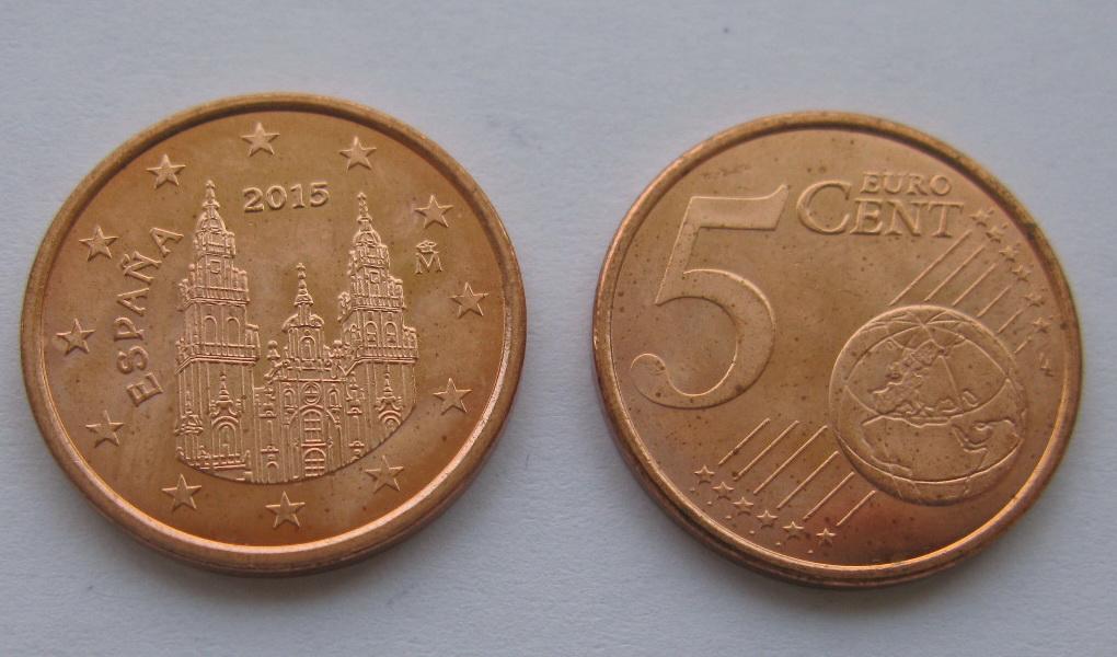 Испания 5 евро центов 2015 г.
