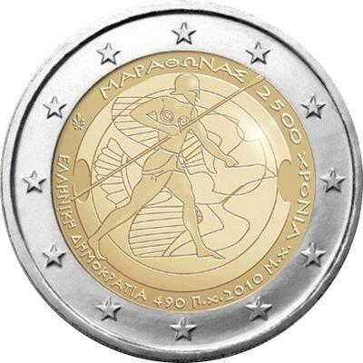 Греция 2 евро 2010 г.   2500 лет Марафонской битве