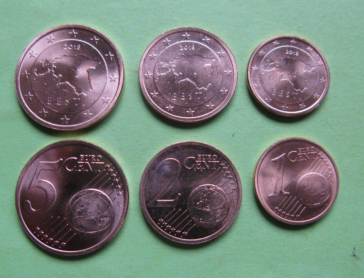 Эстония 1,2,5 евро центов 2011-2018 г.