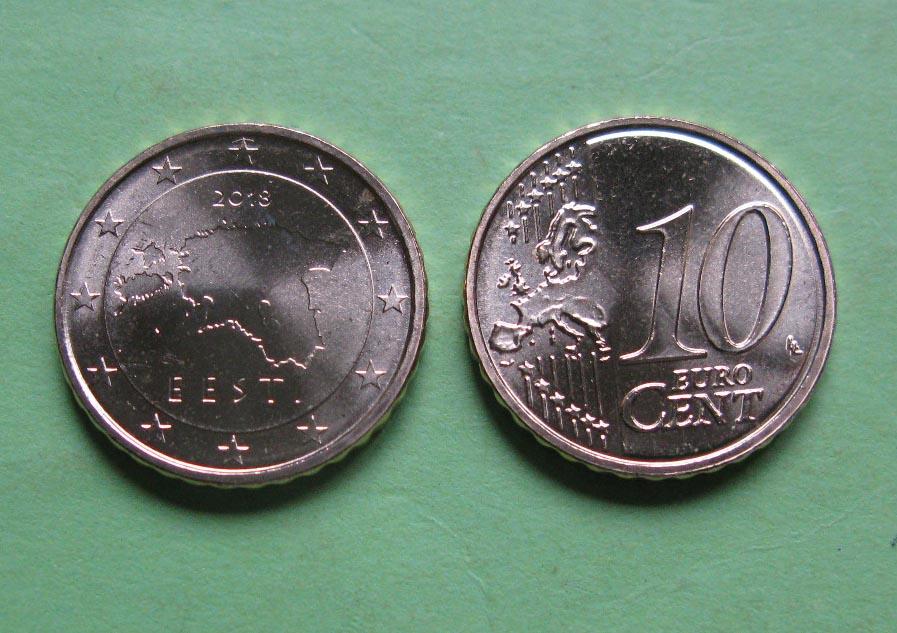 Эстония 10 евро центов 2011 г.