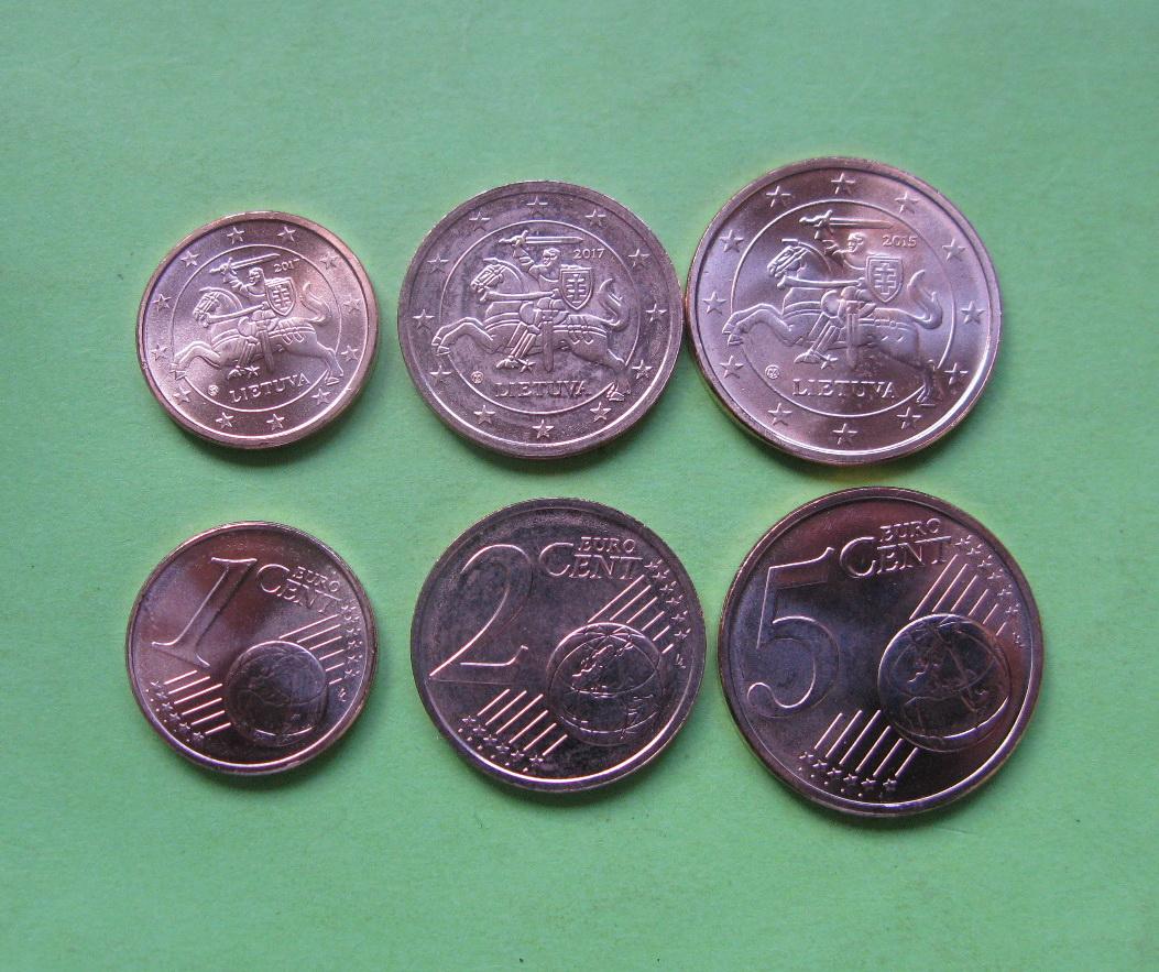 Литва 1,2,5 центов 2015-2017 г.