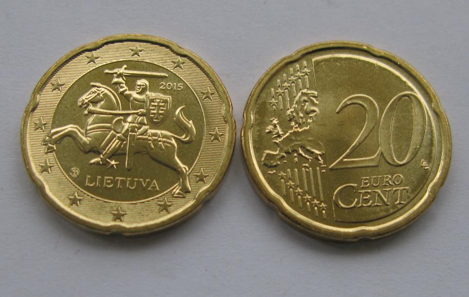 Литва 20 евро центов 2015 г.