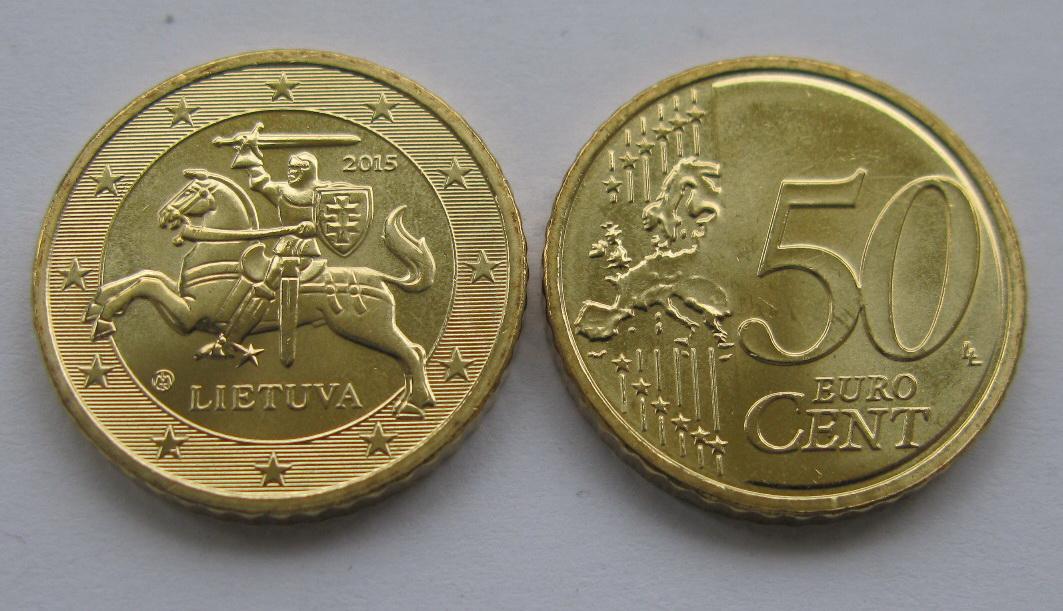 Литва 50 евро центов 2015 г.