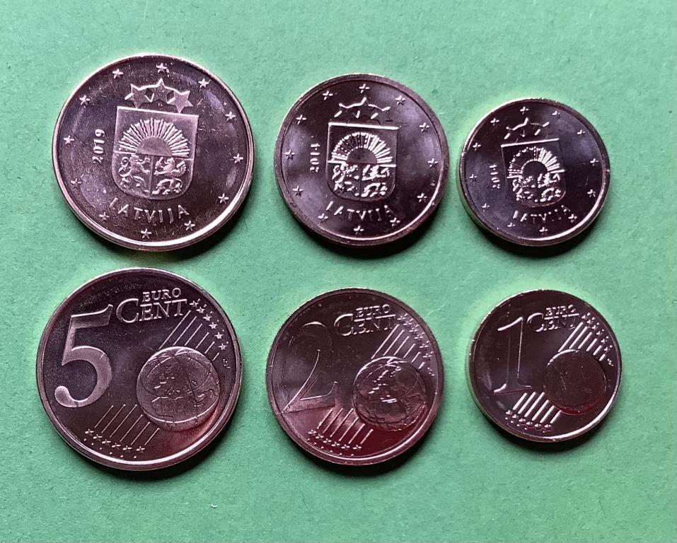 Латвия 1,2,5 евро центов 2014 г.